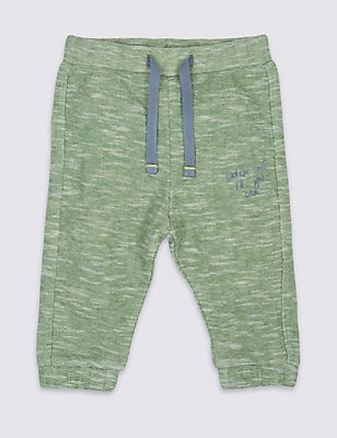Cotton Rich Printed Joggers, PALE JADE, catlanding