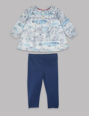 2 Piece Top & Leggings Outfit, WHITE MIX, catlanding