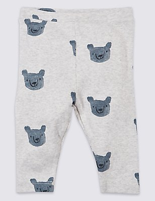 Pure Cotton Bear Printed Leggings , GREY MARL, catlanding