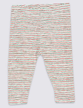 Cotton Striped Leggings with Stretch, MULTI, catlanding