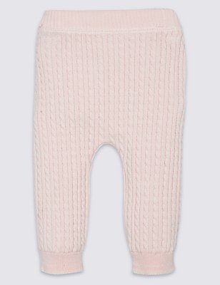 Pure Cotton Cable Knit Leggings, PINK, catlanding