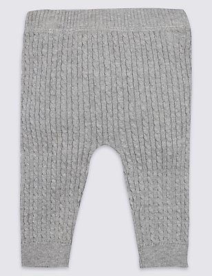 Pure Cotton Knitted Leggings, GREY MARL, catlanding