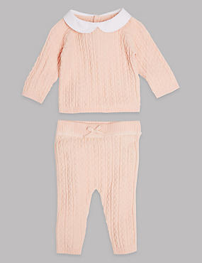 2 Piece Cable Knit Top & Joggers Outfit, PINK MIX, catlanding