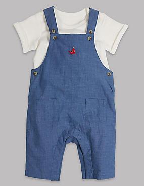 2 Piece Pure Cotton Bodysuit & Dungarees Outfit, WHITE/MED BLUE, catlanding