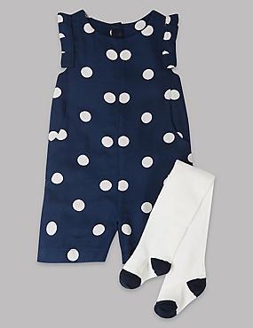 2 Piece Polka Dot Playsuit with Tights, DARK NAVY, catlanding