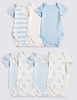7 Pack Boys' Bear Short Sleeve Bodysuits, BLUE MIX, catlanding