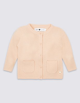 Girls Cardigan with Cashmere (3 Months - 5 Years), SOFT APRICOT, catlanding