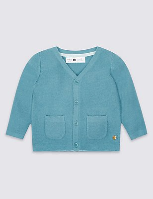 Boys Cardigan with Cashmere (3 Months - 5 Years), DARK TEAL, catlanding