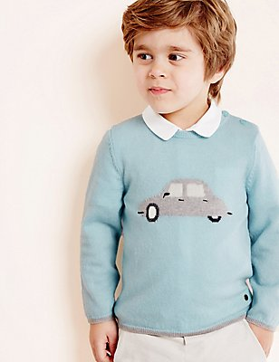 Boys Car Jumper with Cashmere (3 Months - 5 Years), LIGHT BLUE, catlanding