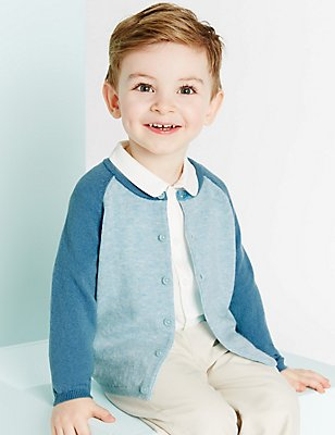 Boys Cashmere Blend Cardigan (3 Months - 5 Years), BLUE MIX, catlanding
