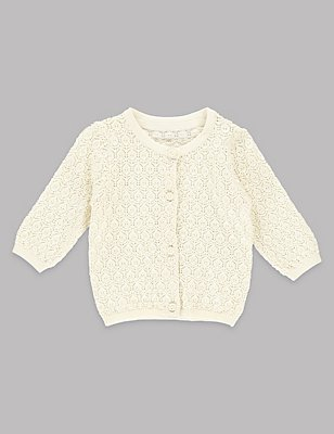 Pure Cotton Pointelle Cardigan, IVORY, catlanding