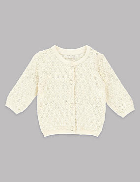 Pointelle-Strickjacke aus reiner Baumwolle, ELFENBEIN, catlanding