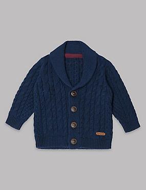 Cotton Rich Long Sleeve Cardigan, NAVY, catlanding