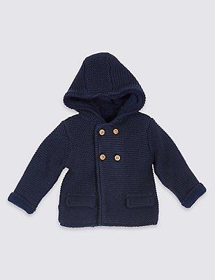 Pure Cotton Hooded Cardigan, NAVY, catlanding