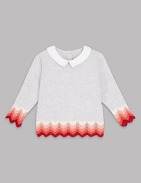 Pure Cotton Knitted Intarsia Collar Jumper, SOFT TERRACOTTA, catlanding