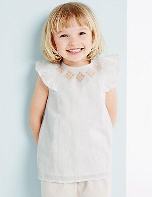 Girls Linen Mix Top (3 Months - 5 Years), WINTER WHITE, catlanding