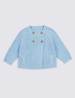 Pure Cotton Double Breasted Cardigan, PALE BLUE, catlanding