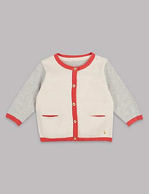 Cotton Rich Colour Block Cardigan, MELBA BLUSH, catlanding