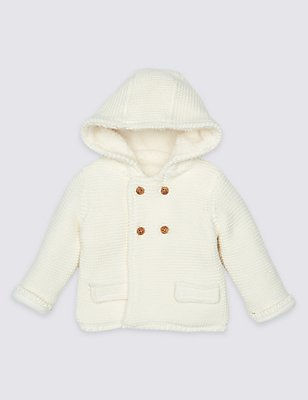 Pure Cotton Hooded Cardigan, CREAM, catlanding