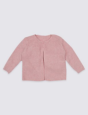Pure Cotton Ribbed Cardigan, PINK, catlanding