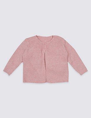 Pure Cotton Ribbed Cardigan, PINK, catlanding