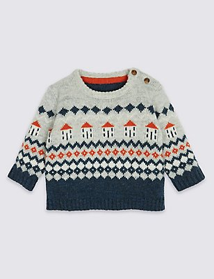 Fairisle Knit Jumper, GREY MIX, catlanding