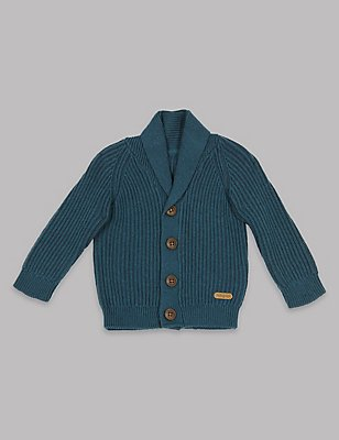 Cable Knit Shawl Collar Cardigan, DARK NAVY, catlanding