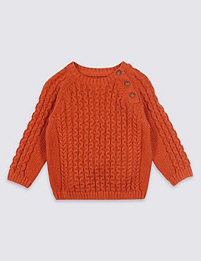 Pure Cotton Cable Knit Jumper, DARK ORANGE, catlanding