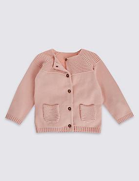 Pure Cotton Long Sleeve Cardigans, SOFT PINK, catlanding