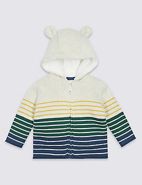 Pure Cotton Knitted Hooded Top, VANILLA, catlanding
