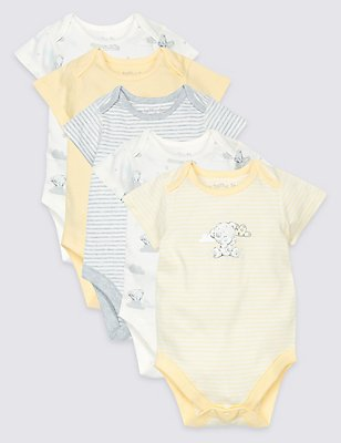 5 Pack Pure Cotton Printed Bodysuits, WHITE MIX, catlanding