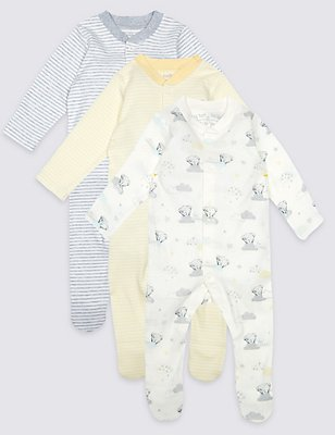 3 Pack Pure Cotton Sleepsuits, WHITE MIX, catlanding