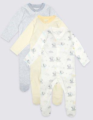 Schlafanzüge aus reiner Baumwolle (3er Pack), WEISS MELANGE, catlanding