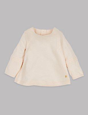 Pure Cotton Textured Jersey Top, MELBA BLUSH, catlanding
