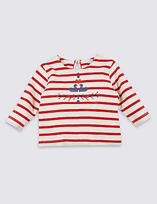 Pure Cotton Striped T-Shirt, RUST MIX, catlanding