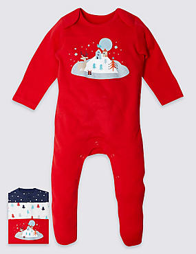 3 Pack Pure Cotton Christmas Print Sleepsuits, MULTI, catlanding