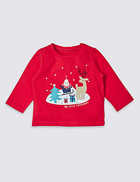 My First Christmas Pure Cotton Applique Top, RED MIX, catlanding