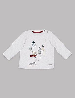 T-shirt 100% coton à motif chouette appliqué, GRIS CHINÉ, catlanding