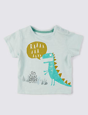 Pure Cotton Dinosaur Print T-Shirt