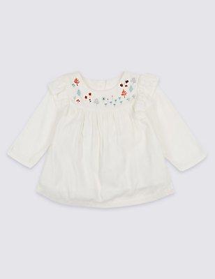 Embroidered Frill Top, VANILLA, catlanding