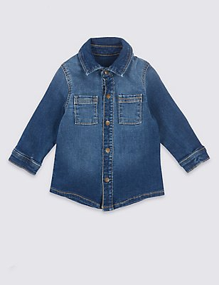 Cotton Shirt with Stretch, DENIM, catlanding