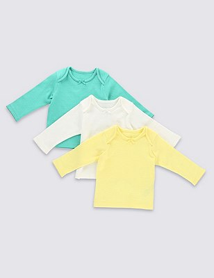 3 Pack Pure Cotton Pointelle T-Shirts, YELLOW MIX, catlanding