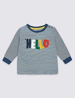 Pure Cotton Hello Slogan T-Shirt, HOLLY, catlanding