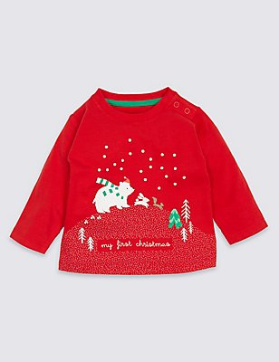 Pure Cotton My First Christmas T-Shirt, RED, catlanding