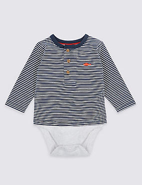 Striped Pure Cotton Bodysuit, NAVY MIX, catlanding