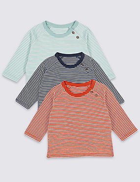 3 Pack Pure Cotton Striped T-Shirts, NAVY MIX, catlanding