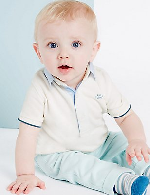 Boys Woven Collar Pique Polo (3 Months - 5 Years), WHITE MIX, catlanding