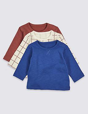 3 Pack Pure Cotton T-Shirts, BLUE MIX, catlanding