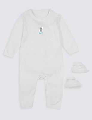 2 Piece Bear Motif Sleepsuit & Booties Gift Set, SOFT WHITE, catlanding