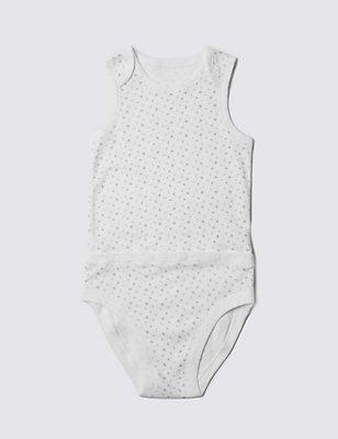 Sleeveless Bodysuit with Popper Tummy (3-8 Years), WHITE, catlanding